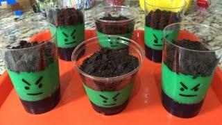 Avengers Hulk Jello, Pudding & Oreo Dessert Cups (how To)