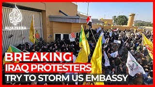 Hundreds of Iraqi mourners try to storm US Embassy in Baghdad