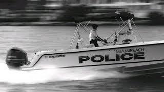 Miami Beach Police Boat 60mph+ Thru Government Cut B&W