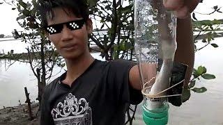 Mantap! Cara unik mancing ikan belanak dgn menggunakan botol 2