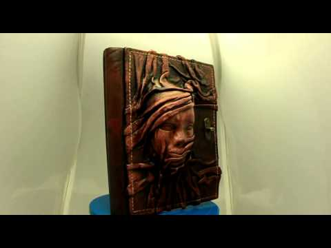 Handmade 3D Scarfed Woman Sculpture on a Brown Leather Bound Journal - Notebook - Diary - Sketchbook