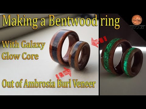 Making a Glowing Bentwood ring out of Ambrosia Burl veneer ( DIY )