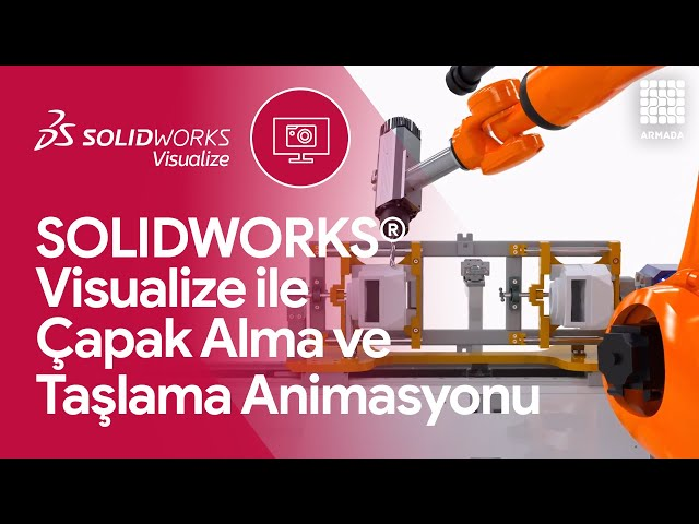 SOLIDWORKS 'de Çapak Alma ve Taşlama Robot Animasyonu | Solidworks Visualize
