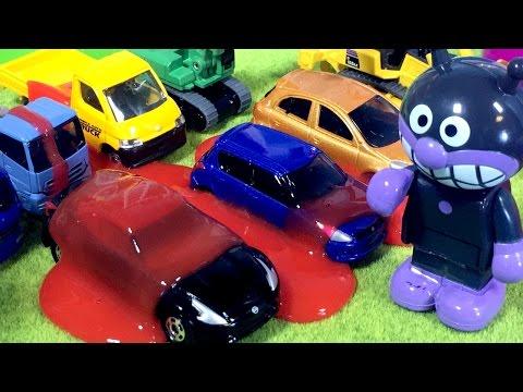 アンパンマン おもちゃ はたらくくるま スライムでトミカの建設車両にバイキンマンがイタズラ⭐ショベルカー ブルドーザー クレーン ミキサー車 トラック 重機搬送車❤️子供向け アニメ