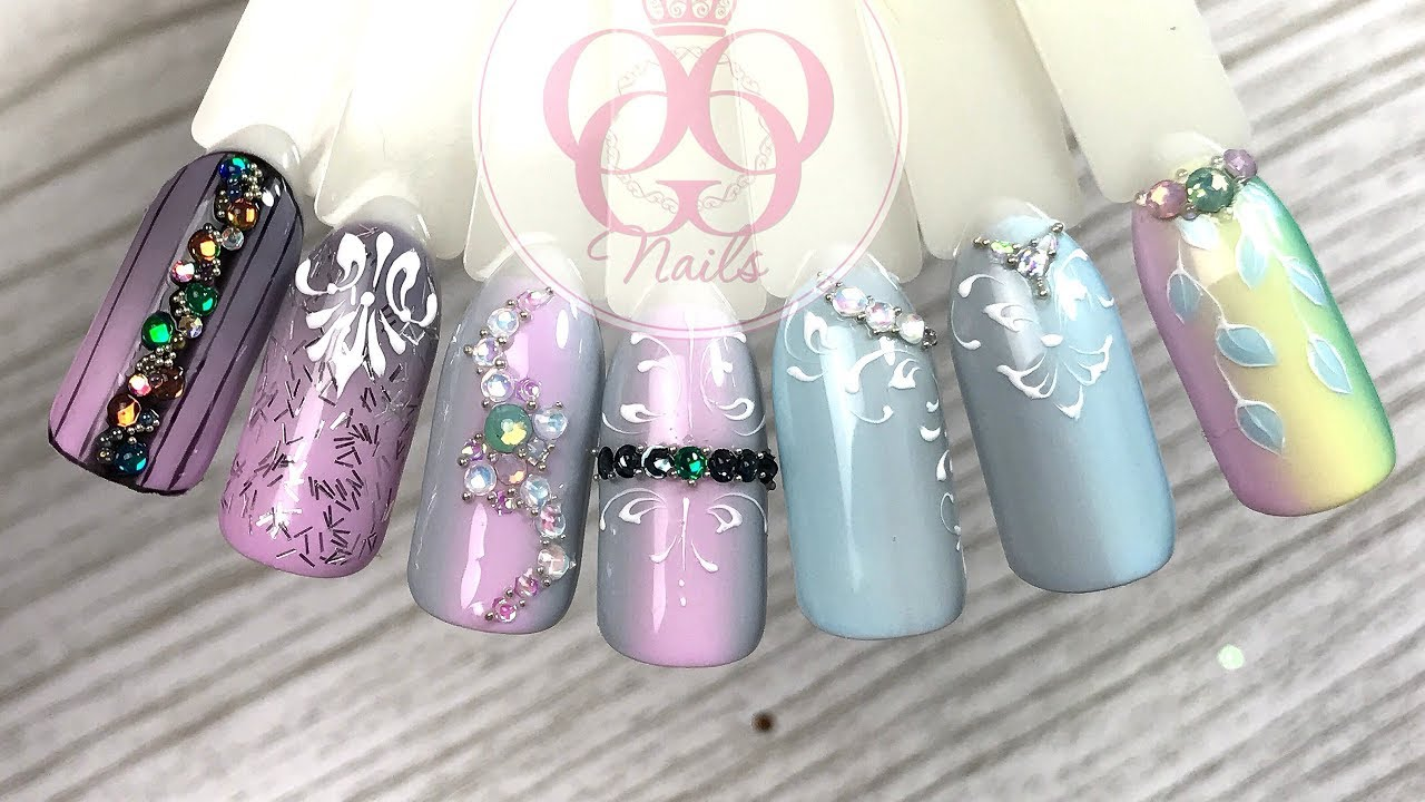 большой дизайн ногтей со стразами и бусинами
