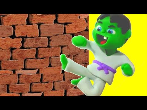 BABY HULK DOES KARATE ❤ Frozen Elsa Play Doh Cartoons & Stop Motion Movies