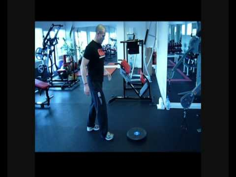 M10 fitness and Firstaid4sport wobble board single leg squat