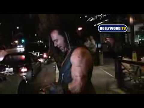 Drunk And Wasted Mickey Rourke Hugs A Tree After Clubbing
