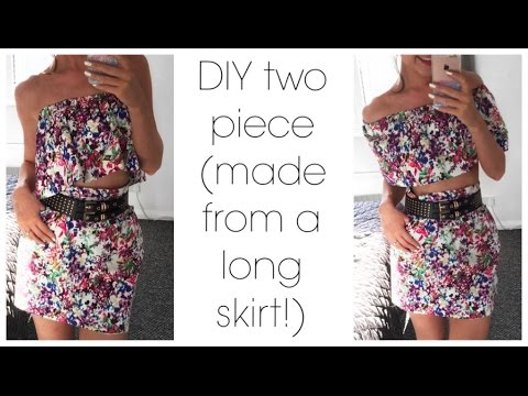 CREATE WITH ME | #CharityShopOutfitChallenge . DIY Two Piece From A Skirt.