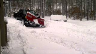 2012 GMC Denali HD 2500 w/ Boss V-Plow plowing 20 inches of Snow