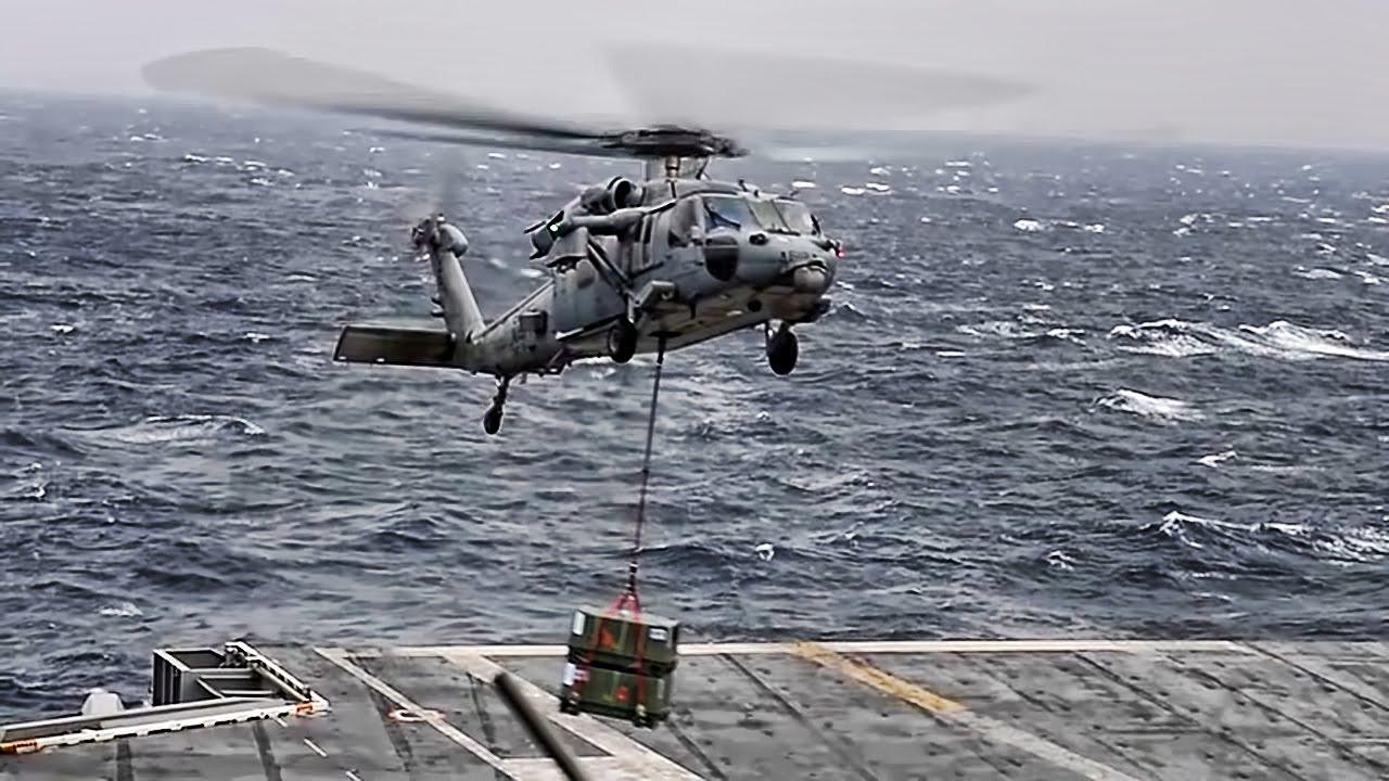 Aircraft Carrier AMMO Transfer • CVN-77 To CVN-71 ...