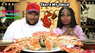 Curtis the Crab and trying  Blove's Smackalicious Sauce Samples