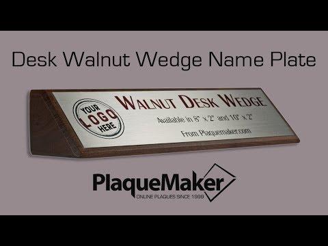 Walnut Desk Wedge - PlaqueMaker.com