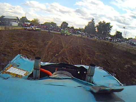 Norwalk Ohio 2014 demolition derby Aaron Blevins in car