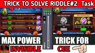 8 Ball Pool | Trick to Max Invisible Cue | Riddles#2 Task solution | Claim Free Expert Avatar