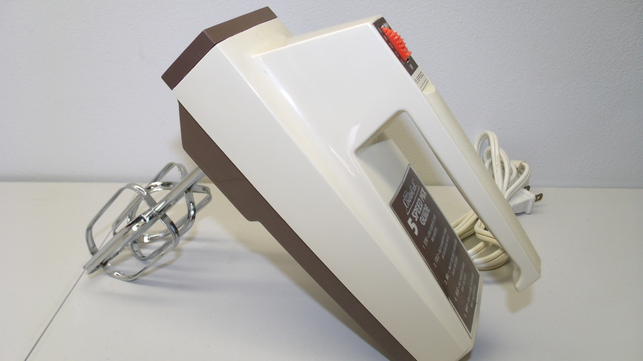electric and handy mixer. vintage sears counter craft 5 speed electric hand mixer egg beater almond retro and handy x