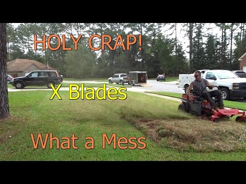 Cross X Blade Mowing   Tall Thick St Augustine Grass Zero Turn