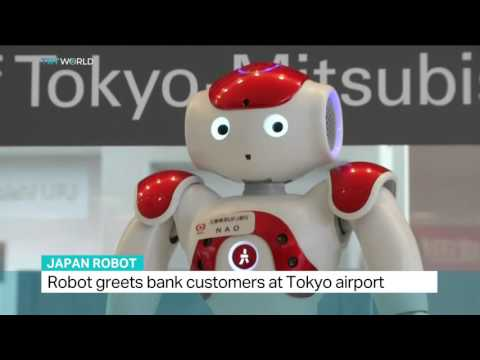 Robot greets bank customers at Tokyo airport