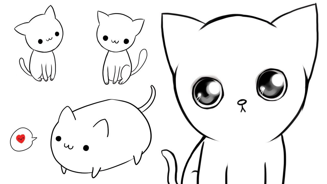 It's just a graphic of Agile Cute Kitten Drawing