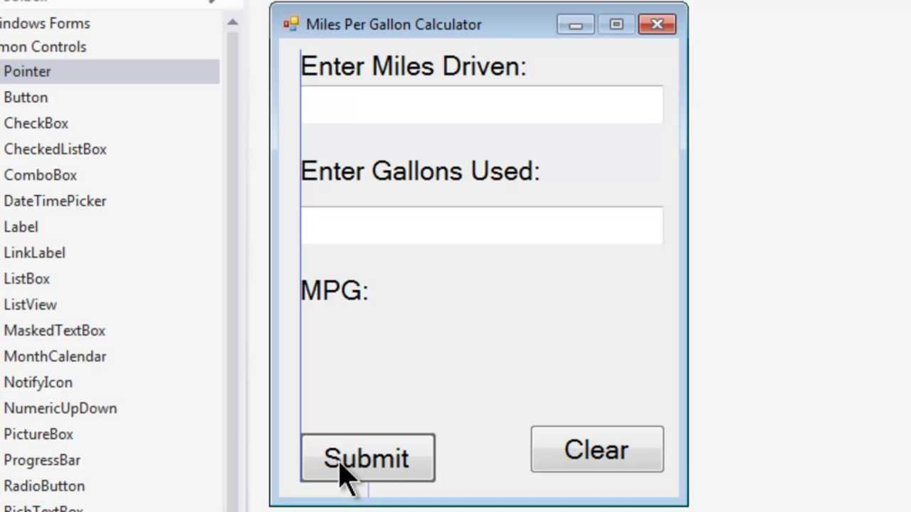 Vb Express 2017 Desktop Tutorial 3 Mpg Calculator Form Setup Miles Per Gallon