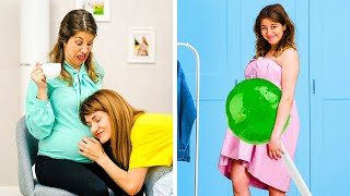 20 FUNNY THINGS ABOUT PREGNANCY || Sneaky Maternity Hacks