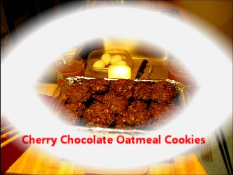 Cherry Chocolate Oatmeal Cookies / Easy Recipe
