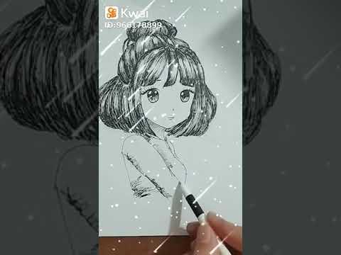 Vẽ cô gái anime bằng bút chữ A – Draw anime girl with letter A pen – Cẩn Art
