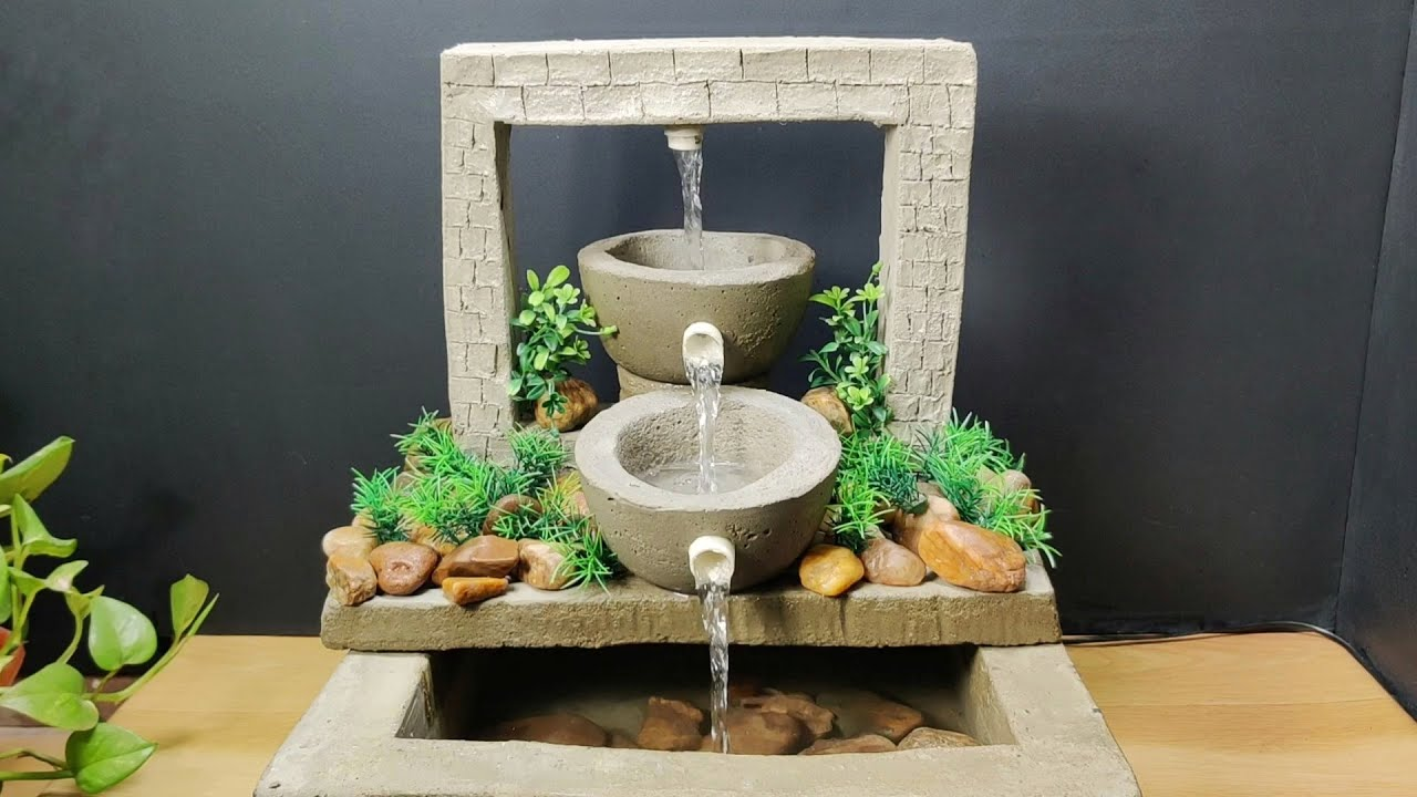 Amazing beautiful awesome waterfall fountain water fountain making at home