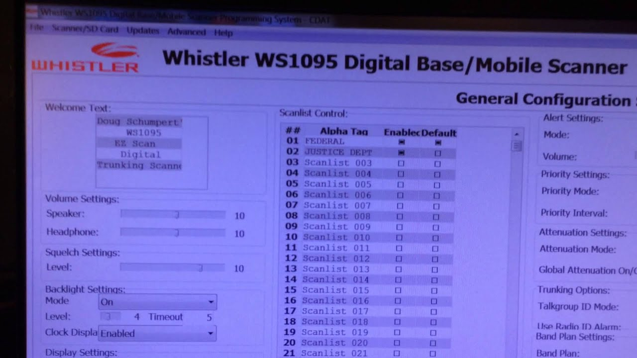 Whistler WS1095 EZ Scan download link and overview