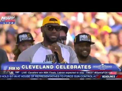 FNN: Lebron James Gives EMOTIONAL, Expletive-Filled Speech at Victory Celebration in Cleveland