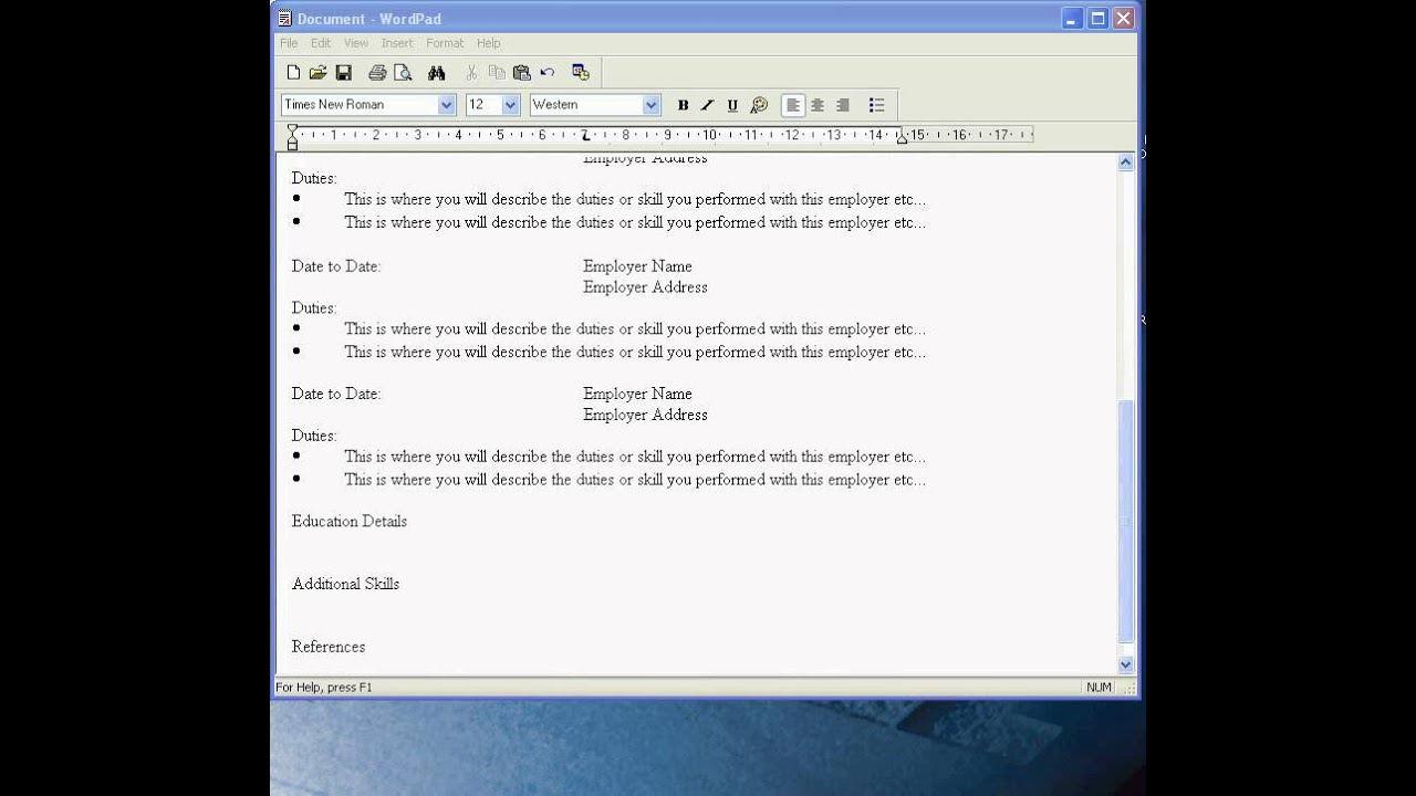 create a cv in wordpad
