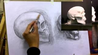 Обучение рисунку. Портрет. 21 серия: рисунок черепов - разбор полетов