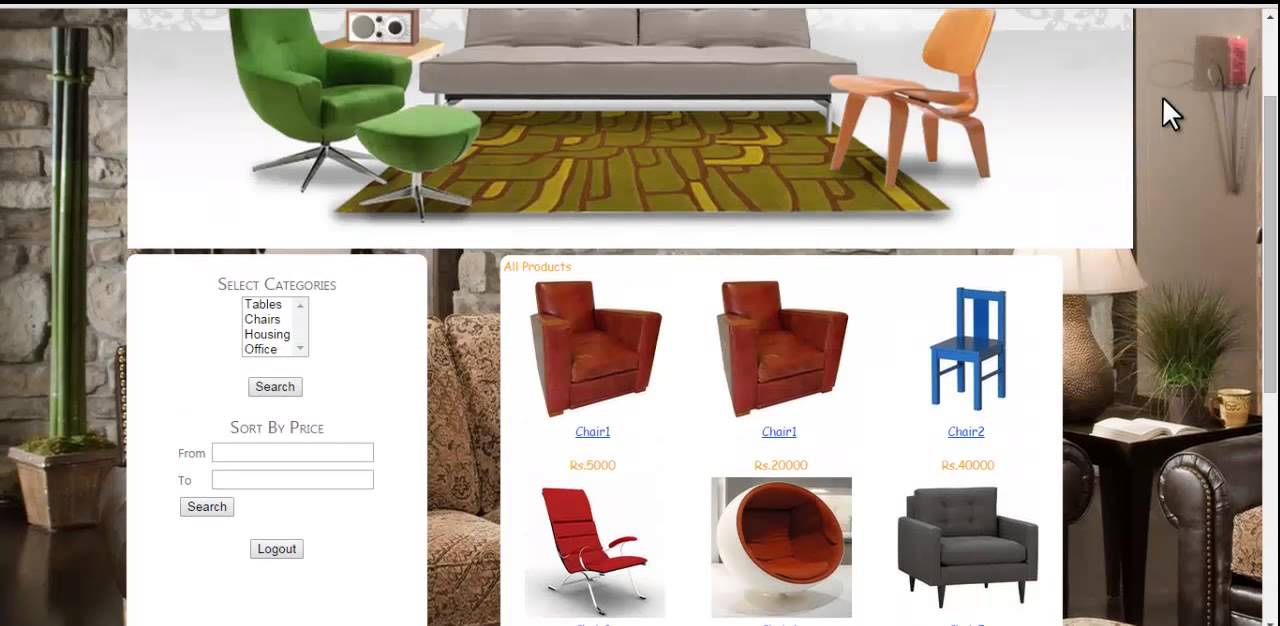 Online Furniture Shop Project Youtube
