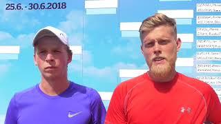 Antonín Bolardt a Marek Řeháček po vítězství v 1. kole deblu Rieter Open Pardubice 2018