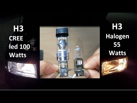 H3 LED Cree 100 Watts Brightness, Size Vs H3 Halogen 55 Watts