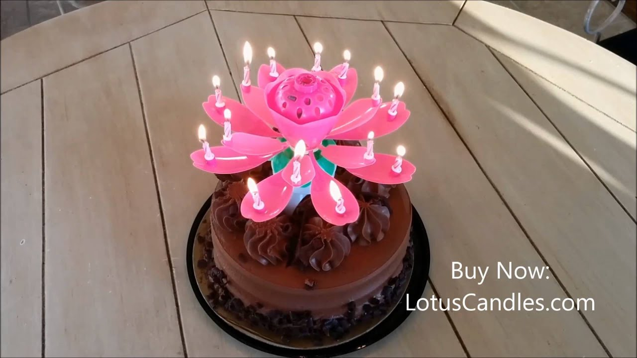 Pink Lotus Candle On Chocolate Cake