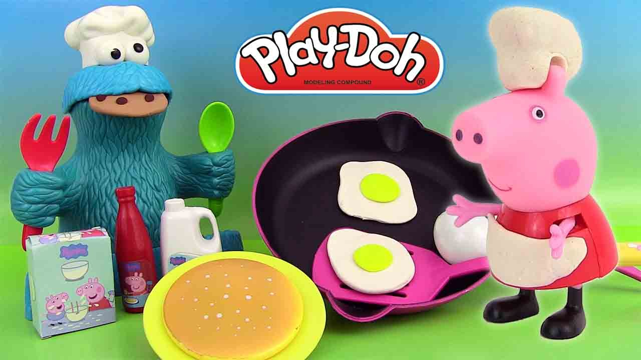 Cuisine Peppa Pig Pâte à Modeler Play Doh Chef Peppa Pig Ustensiles De Cuisine Macaron Le Glouton Cookie Monster