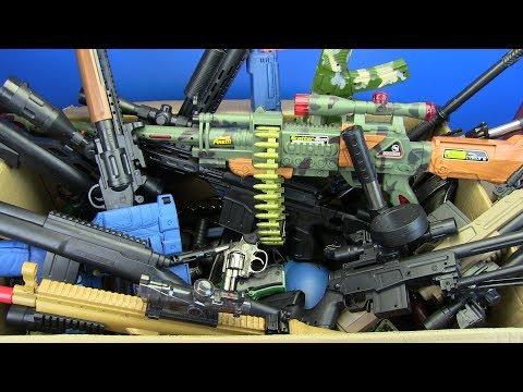 Big Box of Toys - Box Full of Guns Toys ! Military & Police Gun Toy - Toys for Kids