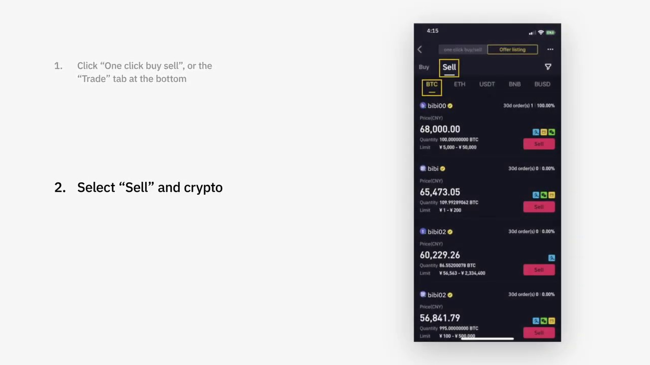 how to sell your cryptocurrency on binance