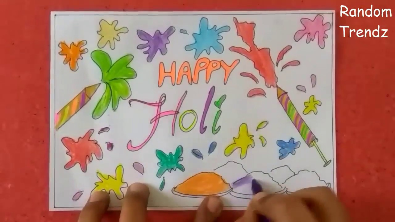Holi Greeting Card Idea Holi Poster Idea Happy Holi Drawing Ideas