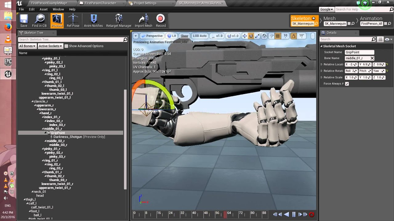 [Unreal Engine 4] Tutorial_01 How to change FPS Gun mesh+weapons download  link