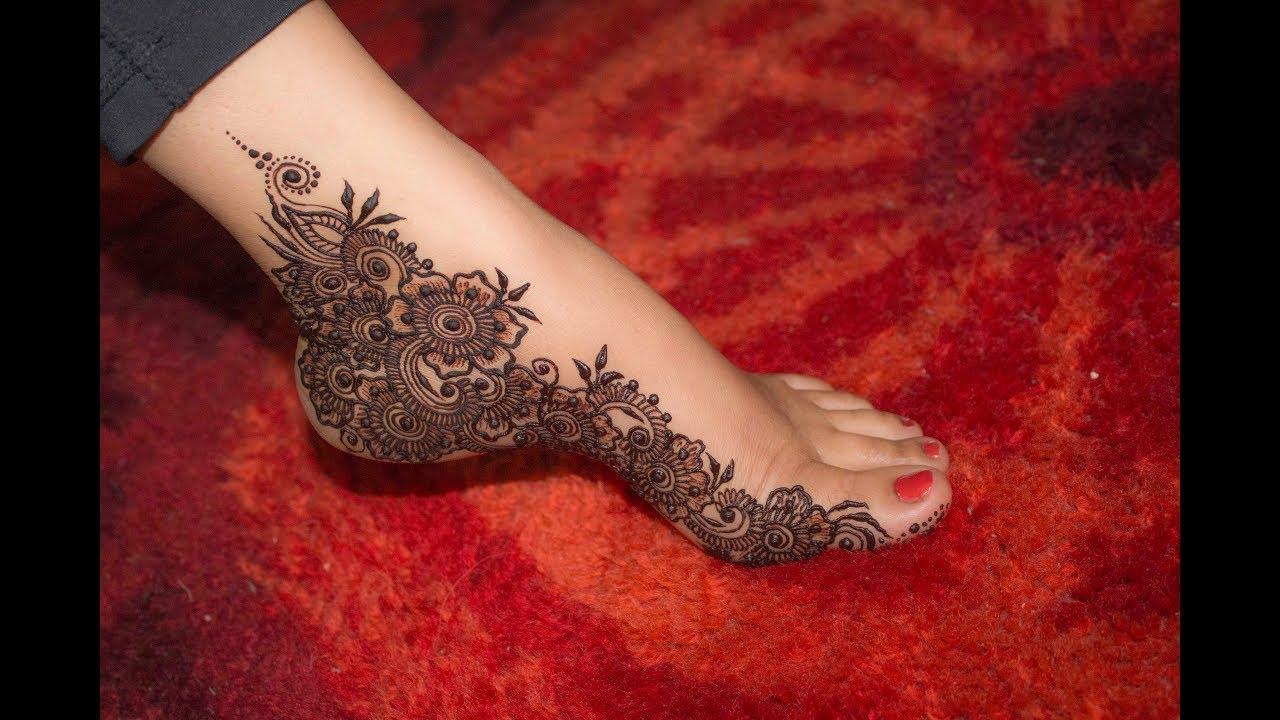 Intricate Beautiful Floral Mehndi Design For Feet