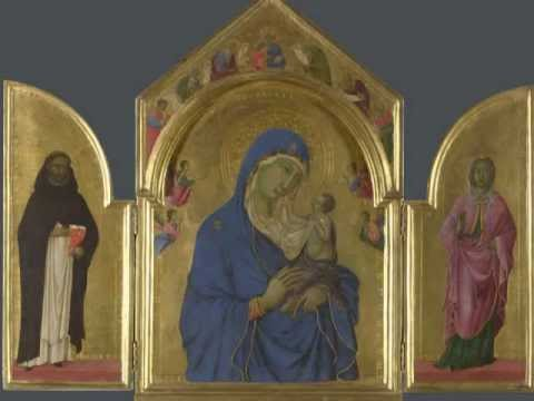 Duccio, The Virgin and Child with Saints Dominic and Aurea
