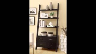 Leaning Ladder Style Espresso Finish Wood Modern Styling Slim Line Bookcase Shel
