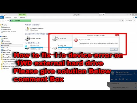 how to fix an i o device error on a wd external hard drive