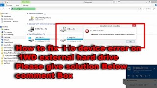 how to fix an i o device error on a wd external hard drive