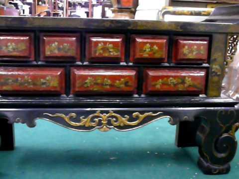 CaoZhou Antique Carve Paint Altar Console Table WK1821