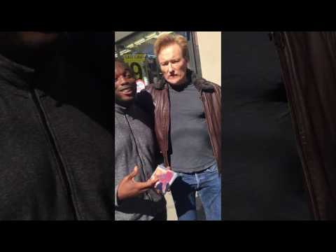 Conan O' Brien raps for Rapper SK PIFSTARS in Harlem NYC