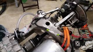 Tesla Model S - Motor and rear clip working in workshop