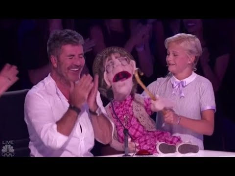 Darci Lynn: Her Naughty Old-lady Puppet 'Edna' Makes Simon Cowell BLUSH!! America's Got Talent 2017